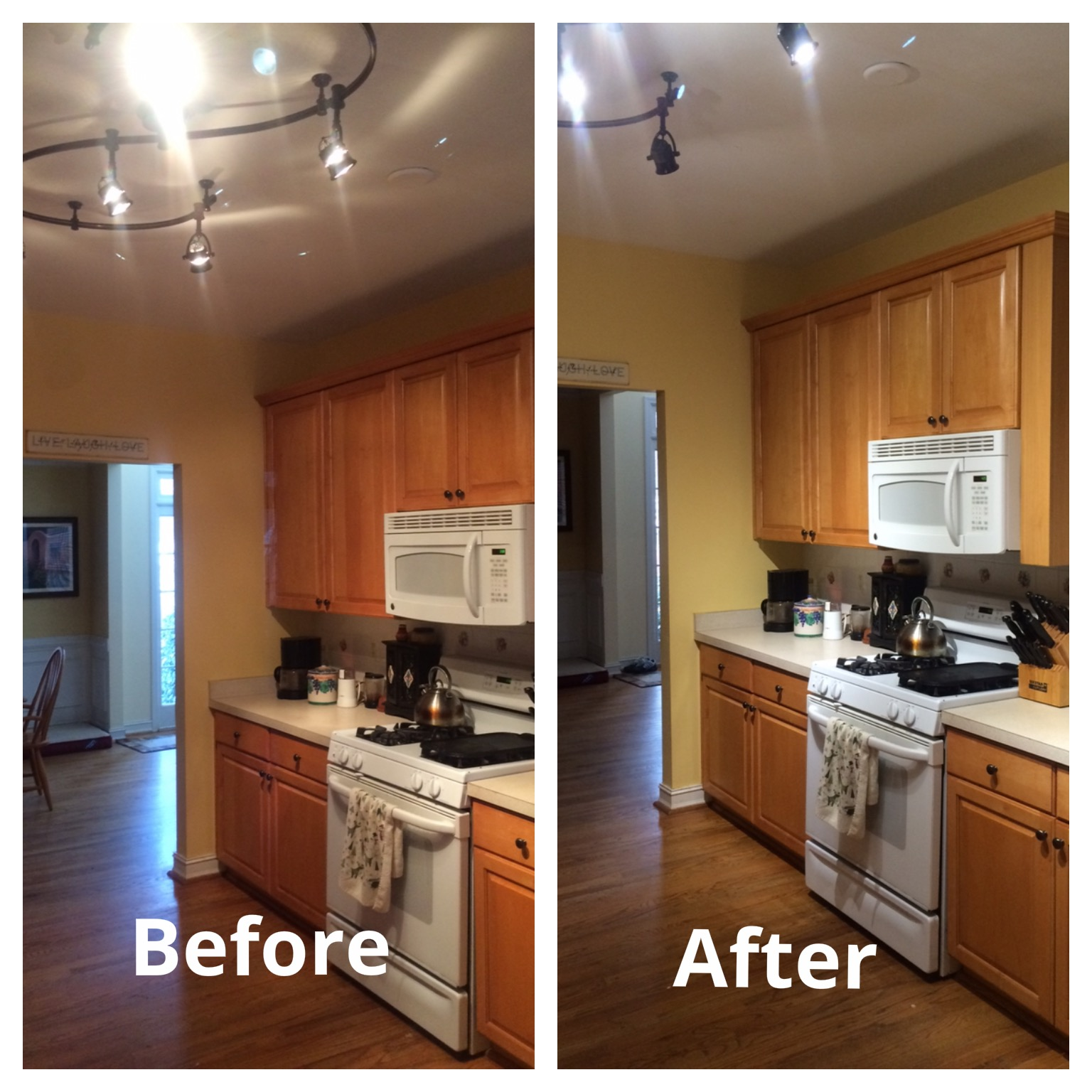 Led lights replace halogens in kitchen update energy water kitchen lights workwithnaturefo