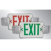 TCP Red Combo UNIV ALL LED Exit Sign, BBU White Housing LED20723