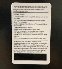 Hot Water Temperature Card